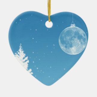 Ornamento de la luna adorno navideño de cerámica en forma de corazón