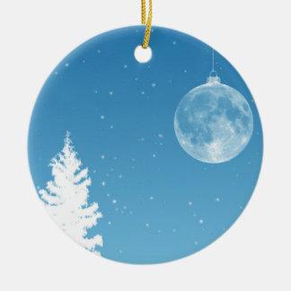 Ornamento de la luna adorno navideño redondo de cerámica