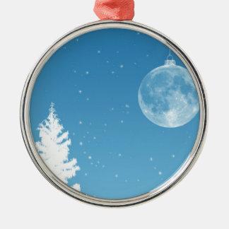 Ornamento de la luna adorno navideño redondo de metal