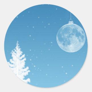 Ornamento de la luna pegatina redonda