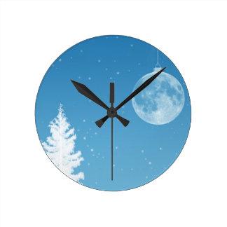Ornamento de la luna reloj redondo mediano