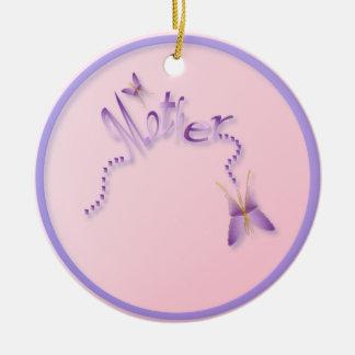 Ornamento de la madre adorno navideño redondo de cerámica