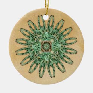 Ornamento de la mandala de la polilla de Luna Adorno Redondo De Cerámica