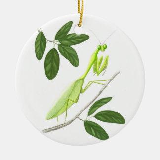 Ornamento de la mantis religiosa adorno navideño redondo de cerámica