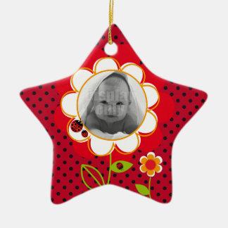 Ornamento de la mariquita adorno de cerámica en forma de estrella