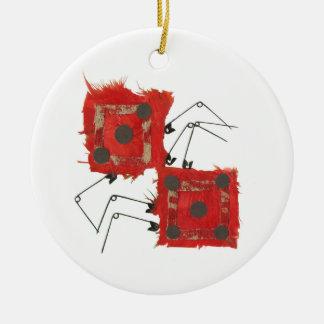 Ornamento de la mariquita de los dados adorno redondo de cerámica