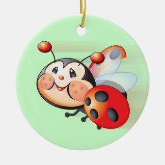 Ornamento de la mariquita del vuelo adorno redondo de cerámica