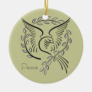 Ornamento de la paloma de la paz adorno redondo de cerámica