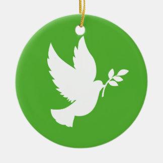 Ornamento de la paloma de la paz adorno navideño redondo de cerámica