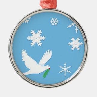 Ornamento de la paloma de la paz adorno navideño redondo de metal
