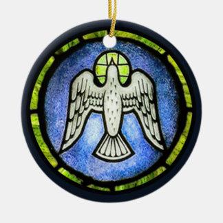 Ornamento de la paloma de la paz del vitral adorno redondo de cerámica