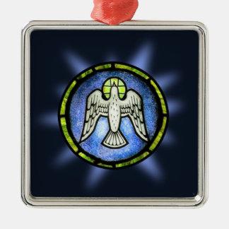Ornamento de la paloma de la paz del vitral adorno navideño cuadrado de metal