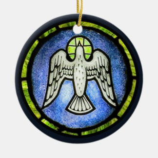 Ornamento de la paloma de la paz del vitral adorno navideño redondo de cerámica