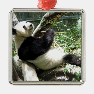 Ornamento de la panda y del bambú adorno cuadrado plateado