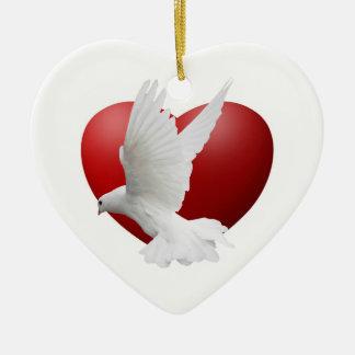 Ornamento de la paz de la paloma adorno navideño de cerámica en forma de corazón