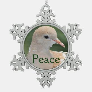 Ornamento de la paz de la paloma del navidad adorno de peltre en forma de copo de nieve