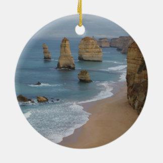Ornamento de la playa adorno navideño redondo de cerámica