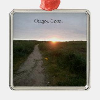 Ornamento de la puesta del sol de la playa de la