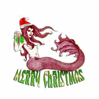Ornamento de la sirena de las Felices Navidad Esculturas Fotográficas