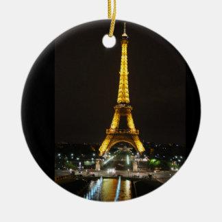 Ornamento de la torre Eiffel Adorno Navideño Redondo De Cerámica