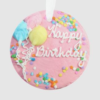 Ornamento de la torta del feliz cumpleaños
