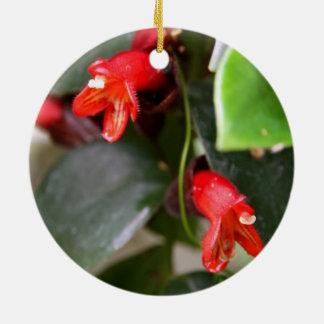 Ornamento de la vid del lápiz labial adorno navideño redondo de cerámica