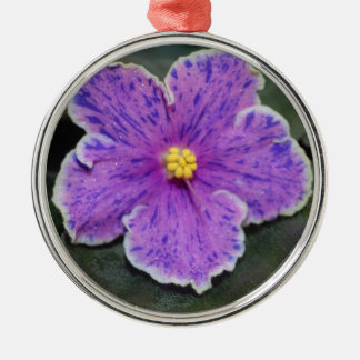 Ornamento de la violeta africana del navidad adorno redondo plateado