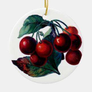 Ornamento de las cerezas adorno redondo de cerámica