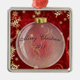 Ornamento de las Felices Navidad 2013 en diseño Adorno Navideño Cuadrado De Metal