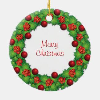 Ornamento de las Felices Navidad de la guirnalda Adorno Navideño Redondo De Cerámica