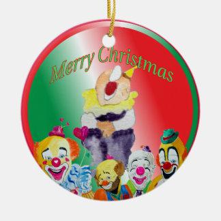 Ornamento de las Felices Navidad de los payasos Ornato