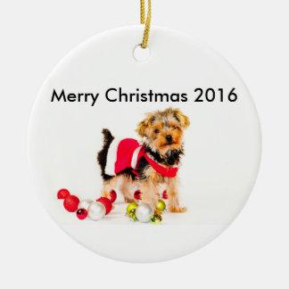 Ornamento de las Felices Navidad de Yorkie Adorno Navideño Redondo De Cerámica