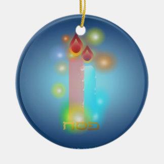 Ornamento de las luces adorno navideño redondo de cerámica