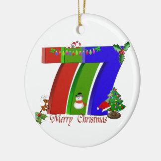 Ornamento de Las Vegas de 777 Felices Navidad Ornamentos De Navidad