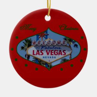 Ornamento de Las Vegas de las Felices Navidad Ornamentos De Navidad