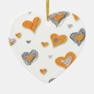 Ornamento de los corazones del arte del lápiz adorno de cerámica en forma de corazón