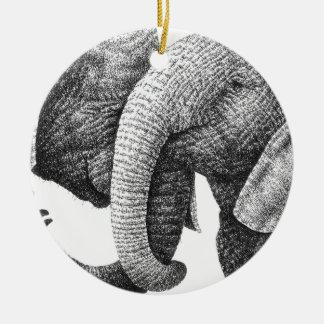 Ornamento de los elefantes africanos adorno redondo de cerámica