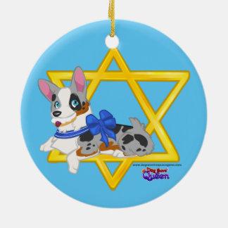 Ornamento de los perritos de Jánuca Adorno Redondo De Cerámica