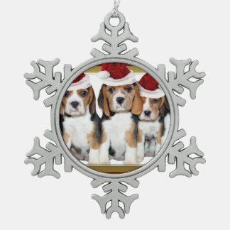 Ornamento de los perritos del beagle del navidad adorno de peltre en forma de copo de nieve