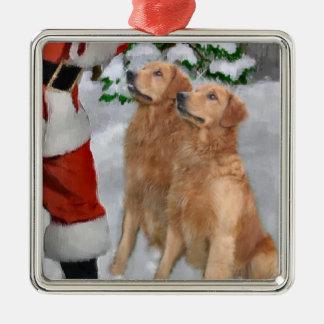 Ornamento de los regalos del navidad del golden adorno navideño cuadrado de metal