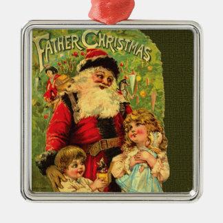 Ornamento de lujo del navidad del padre adorno navideño cuadrado de metal