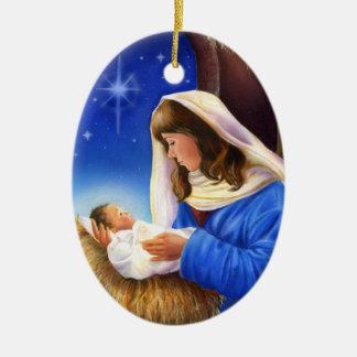 Ornamento de Maria y de Jesús Adorno Navideño Ovalado De Cerámica