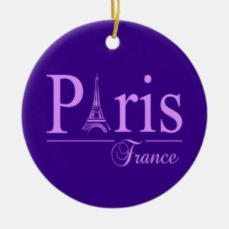 Ornamento de París Francia, personalizar Adorno Redondo De Cerámica