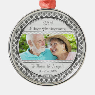 Ornamento de plata de la foto del damasco del aniv adorno de reyes