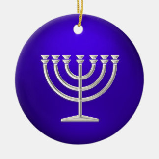 Ornamento de plata de Menorah Jánuca Adornos De Navidad