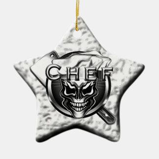 Ornamento de plata del cocinero del cráneo de la adorno de cerámica en forma de estrella