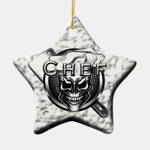 Ornamento de plata del cocinero del cráneo de la e adornos