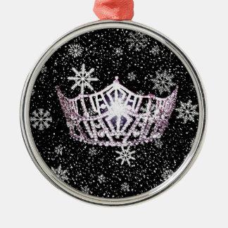 Ornamento de plata del navidad de la corona de