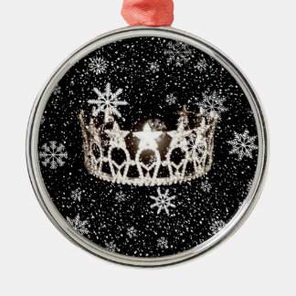 Ornamento de plata del navidad de la corona de la