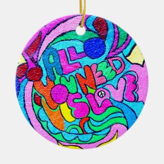 ornamento del amor de la paz del hippie-estilo adorno redondo de cerámica